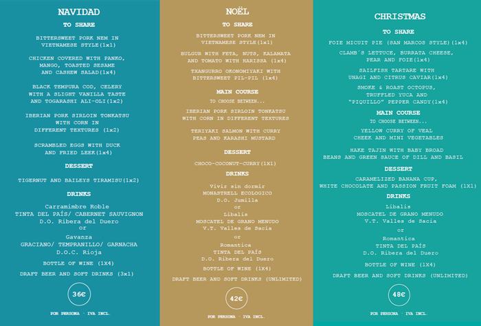Christmas Yubá menus