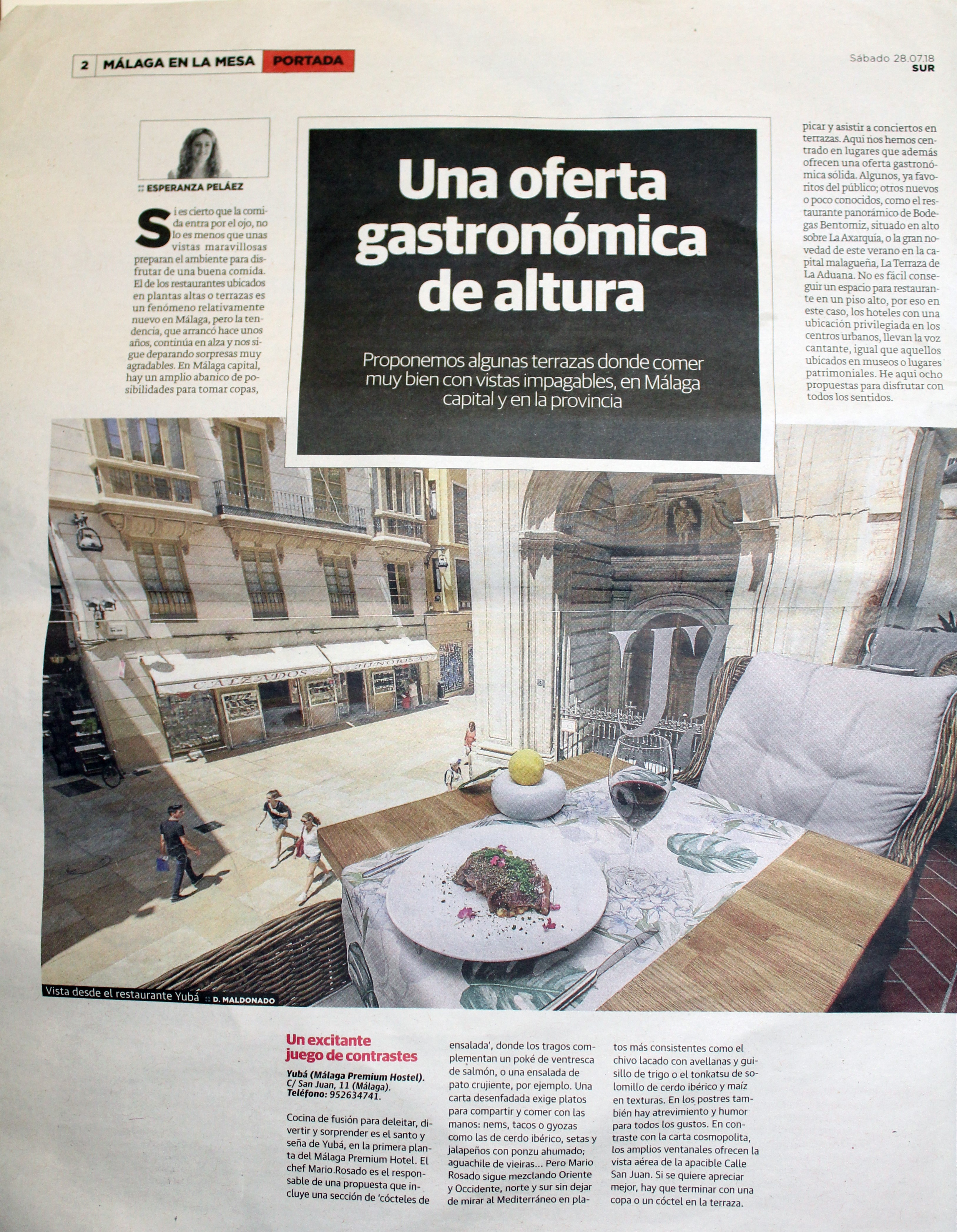 Málaga Premium Hotel aparece en el Diario Sur como el único hotel gastronomico de Málaga